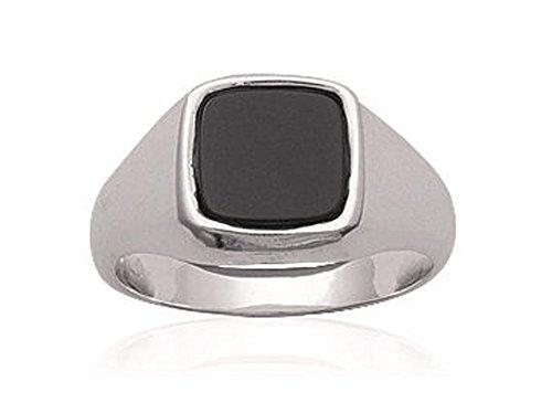 9mm Men's Wallet 925/000Sterling Silver Onyx Ring, Silver