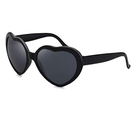 Hiinice Effekt Brillen Diffraction Gläser Herzform Brillen Sonnenbrillen für Feste im Freien Feuerwerk Schwarz