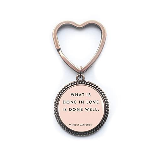 Llavero de plata Love Done Well What is Done in Love, llavero inspirador, llavero estimulante, PU105