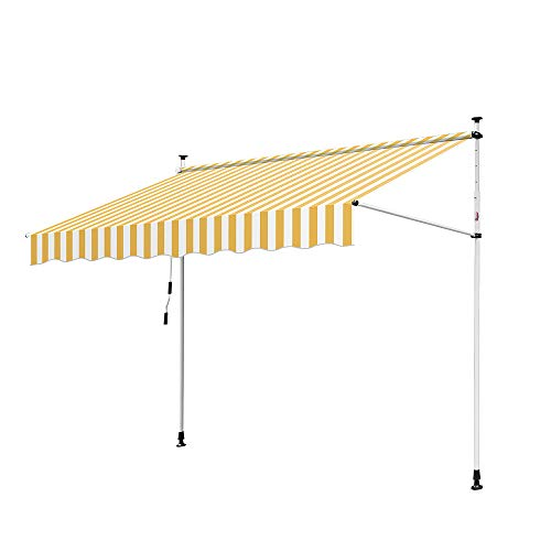 Hengda Manual Awning 150 * 120cm Garden Patio Canopy Sun Shade Shelter Retractable with Fittings and Crank Handle