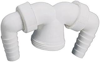 Sanitop-Wingenroth 90 度角软管连接,适用于清洗设备或气味陷阱 Geräte-doppelanschluss Für Verstellrohre | Küchenspüle | 1 1/2 X 20-24 Mm 22195 5