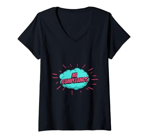 Mujer Mi Cumpleanos Fiesta Amigos Chico Chica Hombre Mujer Regalo Camiseta Cuello V