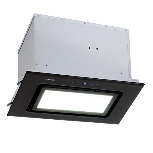 Klarstein Hektor - Campana extractora encastrable, Extracción máx. de 506 m³/h, Potencia de 200 W, ECC C, 3 niveles, Programable, Panel LED integrado, Control mediante panel táctil, 52 cm, Negro