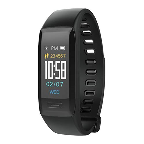 LTLJX Herren Fitness Armband, Damen Sportuhr IP67 Wasserdicht mit Pulsmesser Farbbildschirm Aktivitätstracker Schrittzähler Intelligente Uhr 0.96\'\' für iOS Android,Schwarz
