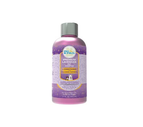 Paws4Pals Natural Organic Lavender Oatmeal Pet Shampoo+Conditioner With Colloidal Oatmeal-Grooming Tear Free Blend Wth Aloe Vera Gel For Dry Sensitive Skin-Hypoallergenic Soap Free For Dogs & Cats