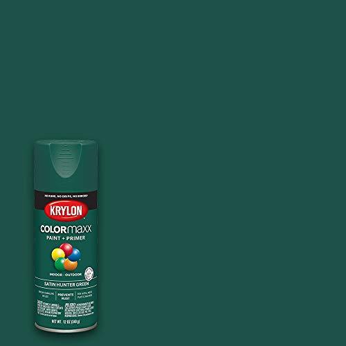 Krylon K05563007 COLORmaxx Spray Paint and Primer for Indoor/Outdoor Use, Satin Hunter Green