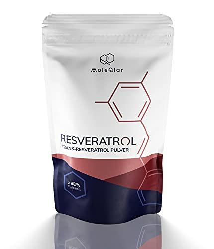 Veri-te™️ Resveratrol | 30 Gramm | Trans-Resveratrol Pulver ⎮ Reinheit >98{41e45dfde20c00554ae3916d93ae8084a03457133053c4b9c94c36f678fac23c} | ohne Zusätze | hergestellt aus Hefefermentation | von MoleQlar® (30g)