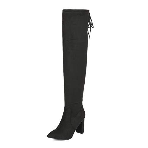 DREAM PAIRS Women's Black Thigh High Chunky Heel Stretch Over The Knee Boots Size 8 B(M) US Natasha-1