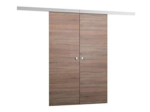 Schiebetürsystem Multi Duo, 3 Breite wählbar, Synchronisiertes Öffnen, Komplett-Set für Schiebetüren mit Bodenführung Abstandsführung Trennwände Innentüren (Sonoma, Modell 120, mit Selbstschließer)