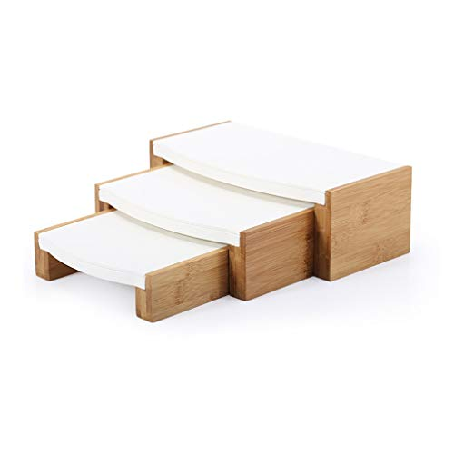 ZL 3 PC-massief houten Klein Riser Set van Gems On Display, bamboe 3 dieren sieradenweergaven riser staander W/Leder Insert Liner