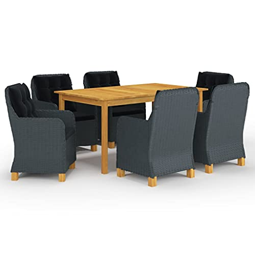 vidaXL Gartenmöbel Set 7-TLG. Sitzgruppe Gartengarnitur Sitzgarnitur Gartenset Tisch Stühle Sessel Gartensessel Gartentisch Dunkelgrau