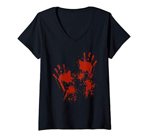 Mujer Halloween Salpicadura de sangre Zombie Disfraz Carenado Camiseta Cuello V
