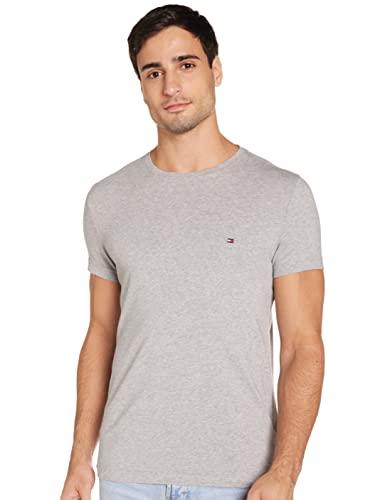 Tommy Hilfiger - Tommy Hilfiger Mens - Mens T Shirt - Mens Clothes - Designer T Shirts Men - Core Stretch Slim CN T-Shirt - Cloud HTR - Size L