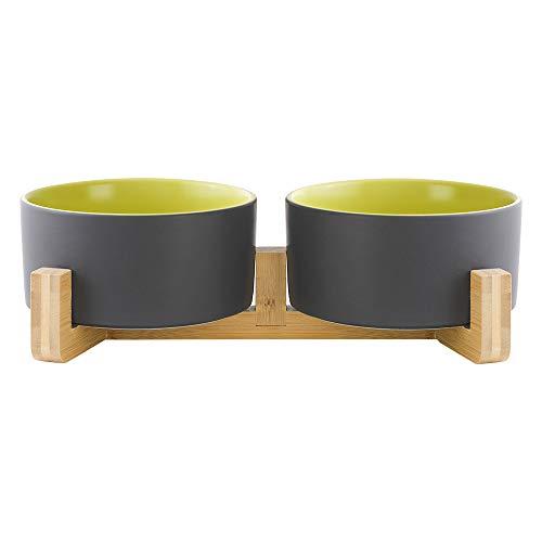 HCHLQLZ Grau Grün Keramik Hundenapf Futternapf Fressnapf Napf für Hund Katzen mit Massivholz Ständer(2 Stück)