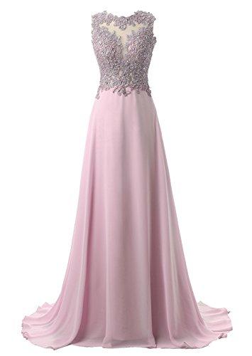 Callmelady Brautjungfernkleider Lang A-Linie Chiffon Abendkleider Elegant für Hochzeit Spitze (Erröten Rosa, EU34)