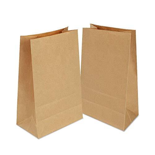 Gaoyong 100 Stück Papiertüten Klein 9x17x5.5 cm Papiertüten Braun Kraftpapiertüten,Partytüten aus Papier Recycelt für Geburtstagsfeiern, Weihnachten, Hochzeit, Firmenfeier,Kindergeburtstag