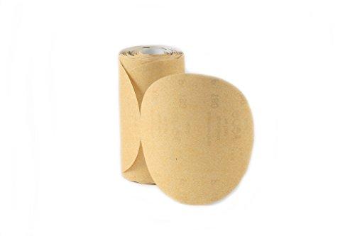 Karebac LR6C220 Premium Gold 6' PSA 220 C-Weight Aluminium Oxide Stearated 100 Sanding Discs/Linkroll Grit Sanding Discs, 220 Grit