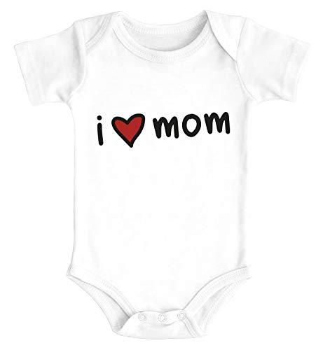 SpecialMe® Baby Body I Love Mom Geschenk Mama Muttertag Geburtstag Jungen Mädchen Oberteil Bio-Baumwolle weiß 0-3 Monate