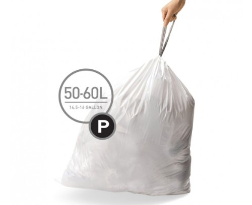simplehuman Code P Custom Fit Drawstring Trash Bags, 50 -60 L / 13-16 Gallon, 1 Refill Pack (20 Count)
