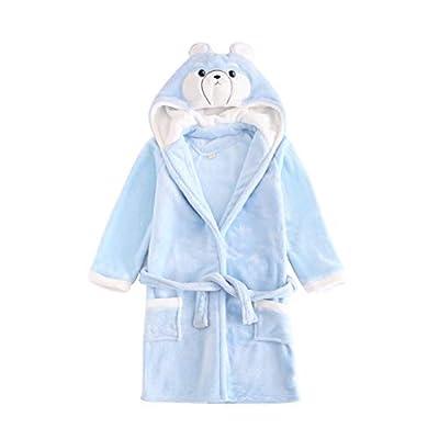 Toddler Baby Bathrobes for Boys Girls Soft Flannel Robe Kid Hooded Sleepwear 3-11t
