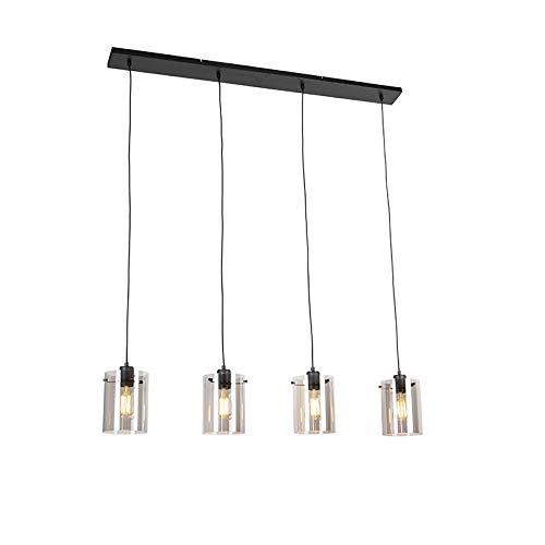 QAZQA - Design Hängelampe | Pendellampe | Pendelleuchte schwarz mit Rauchglas 4-flammig-Licht - Kuppel | Wohnzimmer | Schlafzimmer | Küche - Länglich - LED geeignet E27