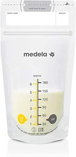 Medela, Sacche per la Conservazione del Latte Materno, Ideali per il Trasporto e la Conservazione in Modo Semplice e Igienico, Capienza 180 ml, 25 Pezzi