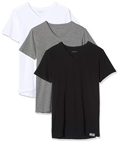 Diesel UMTEE-MICHAEL3PACK, Camiseta para Hombre, Multicolor (Dark Grey Mélange/Black/Bright White E3843/0qazy), S, Pack de 3