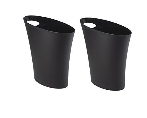 Umbra Skinny Waste Can, 2 Pack, Black