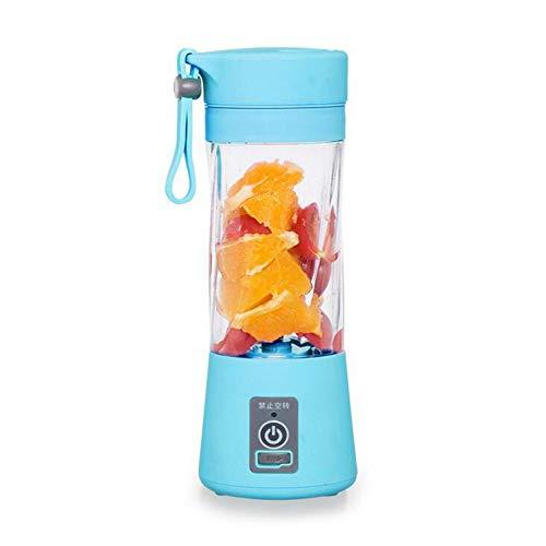 MTUPOC Licuadora Exprimidor Portátil, Mezclador Personal de Frutas de 6 Palas para el Hogar, Cable de Cargador USB, 380ML (Azul)