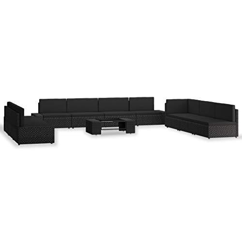 vidaXL - Conjunto de muebles de jardín (10 unidades, muebles de terraza, muebles de jardín, muebles de exterior, parte trasera de resina, trenzada, color negro
