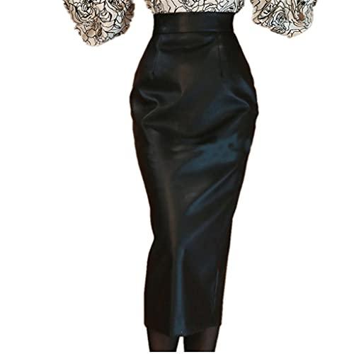 DIAOD Falda de cuero de otoño para mujer, de cintura alta, elegante, para oficina, paquete para dama, falda de tubo delgada a la cadera (Color : Black, Size : XXL code)