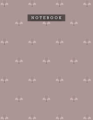 Notebook Rosy Brown Color Cute Smile Foxes Patterns Cover Lined Journal: Meal, Personal, Weekly, 8.5 x 11 inch, A4, 21.59 x 27.9