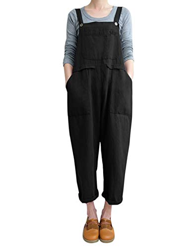 Gihuo Women's Baggy Cotton Overalls Jumpsuit with Pockets (Black, Large)