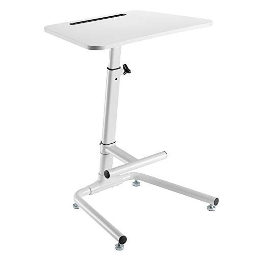 ERGO LIFE Pneumatic Height Adjustable Standing Desk Sit-Stand Desk with Footrest Bar, On-Floor Laptop Computer Workstation for Classrooms/Offices/Home, Spacious Platform, Supports up to 17lbs