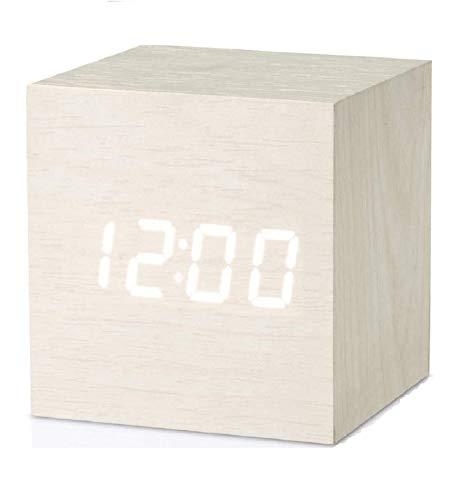 Micar Reloj despertador digital de madera con USB, funciona con pilas, reloj de escritorio para dormitorios, niños, sala de estar, cocina con fecha, temperatura y hora (blanco)