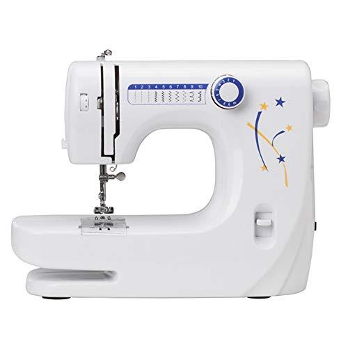 Máquina de coser portátil Miniatura multifuncional Máquina de coser eléctrica doble de la aguja máquina de coser del hogar de escritorio Herramienta doméstica ( Color : White , Size : 333X133X243mm )