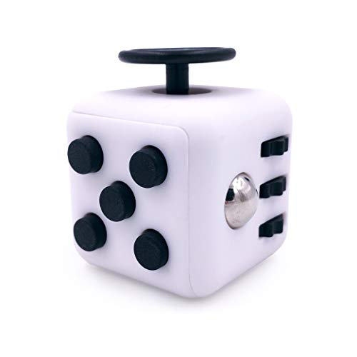 GreenBee Cubo Antiestres Niños Adultos - Fidget Toy Anti Estrés - Juguetes Antiestres con 6 Módulos Relajantes - Figet Toys Juguetes para Adultos Adolescentes y Niños - Blanco