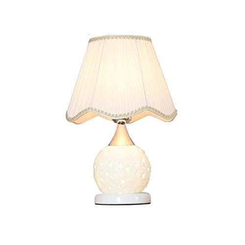 Zunruishop Dormitorio Mesita de luz de la lámpara, luz de la Noche, cerámica Iluminación Decorativa, Ola Cubierta de Tela de Color Beige, Interruptor de la Perilla del Amortiguador