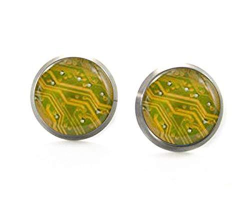 Little Love - Pendientes amarillos, diseño de placa de circuito, regalo de...