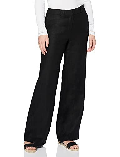 find. Damen Weite Hosen aus Leinen, Schwarz (Black), 38, Label: M