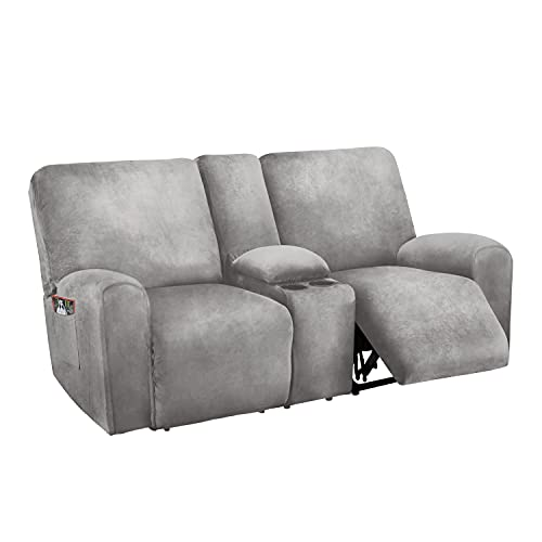 Reclining Love Seat with Middle Console Slipcover, 8-Piece Velvet Stretch Loveseat Reclining Sofa Covers, 2 seat Loveseat Recliner Cover, Thick, Soft, Washable, Loveseat Slipcovers (Light Grey)