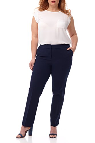 Rekucci Curvy Woman Plus Size Easy Chic Zip Front Pant in 4-Way Stretch Cotton (20W,Navy)