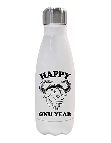 IDcommerce Happy Gnu Year - Happy Antelope Gnu Termica Acqua Bottiglia in Acciaio Isolata 350ml