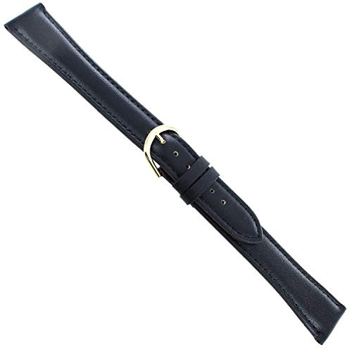 18mm Milano Black Padded Stitched Genuine Calfskin Leather Mens Watch Band XXL
