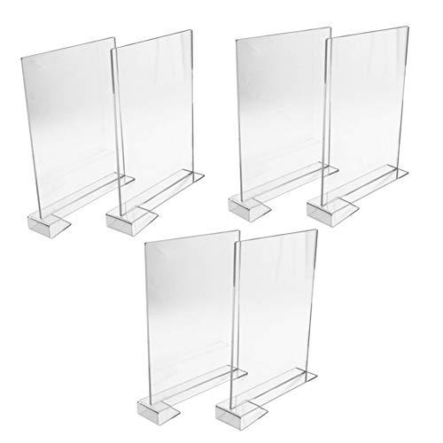Bernese 6pcs Acrylic Shelf Dividers for ClosetsClear Closet Shelf DividersOrganize Clothes BooksTowels and Hats