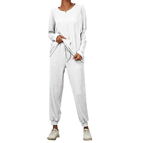 Fall/Winter Solid Color Long-Sleeved Loose Casual Suit, Home Service Pajamas Women White