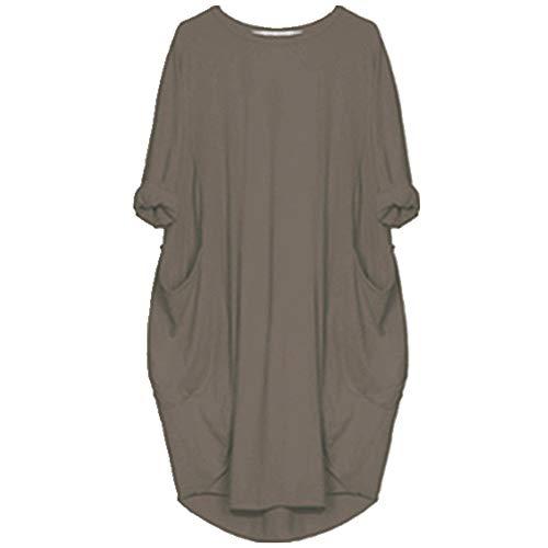 U/A Mujeres Casual Vestido Suelto Con Bolsillo Señoras O Cuello Largo Tops Mujer Vestido Streetwear