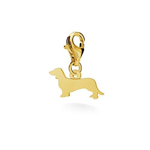GIORRE ¤ Neu Anhanger 172, Dackel ¤ Feine Sterling Silber 925 Silber : Yellow 24K Gold Plating