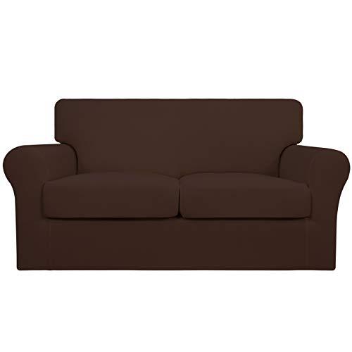 Easy-Going 3 piezas de funda elástica suave para sofá para perros – Funda de sofá lavable para 2 cojines separados – Protector de muebles elástico para mascotas, niños (leche, café)