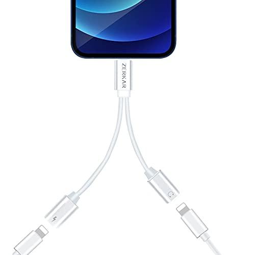 Adaptador de Auriculares para iPhone AUX Audio Splitter Cable, 2 en 1 Adaptador Jack per Cuffie per iPhone Adaptador Dongle Compatible con iPhone 12/11 Pro/11/XS/XS Max/XR/X/8/7/6/Pad/Pod